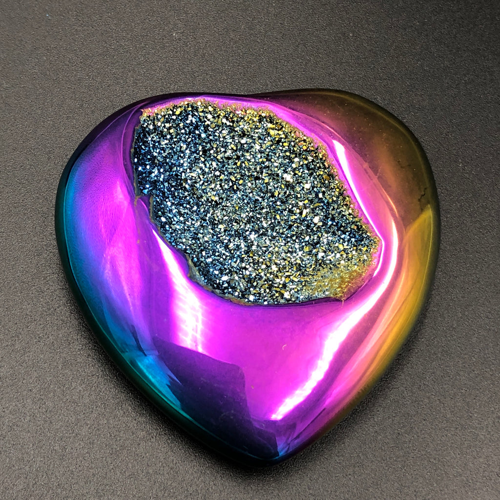 Titanium Aura Druzy Hearts Medium