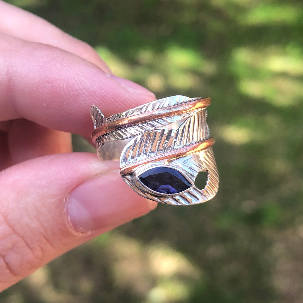 Amethyst with Copper Sterling Silver Ring 7 (N.5)