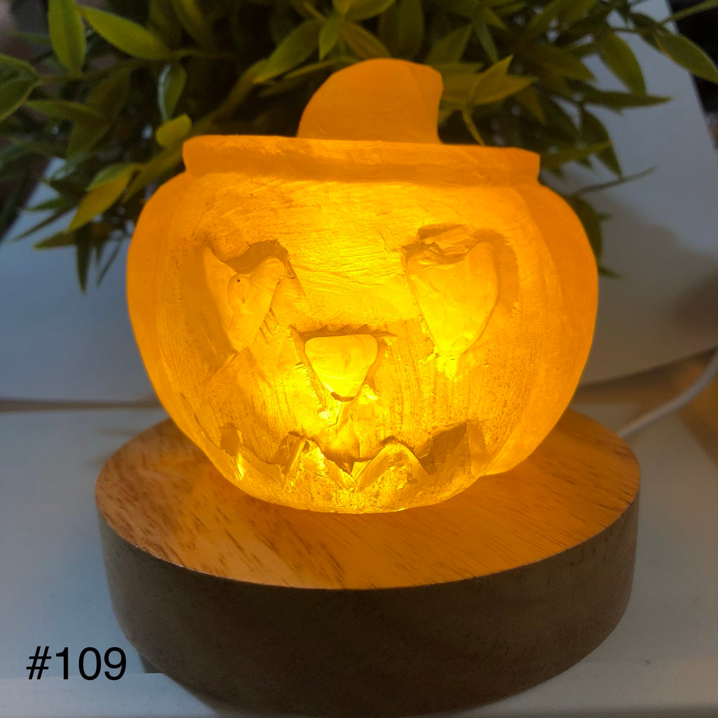 Pumpkin Lamp Golden Calcite with warm toned LED Light base