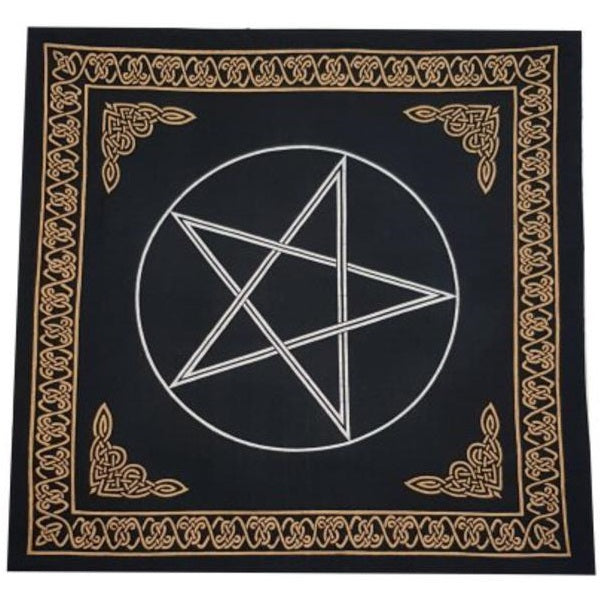 Pentagram Altar Cloth - Black, Gold and Silver