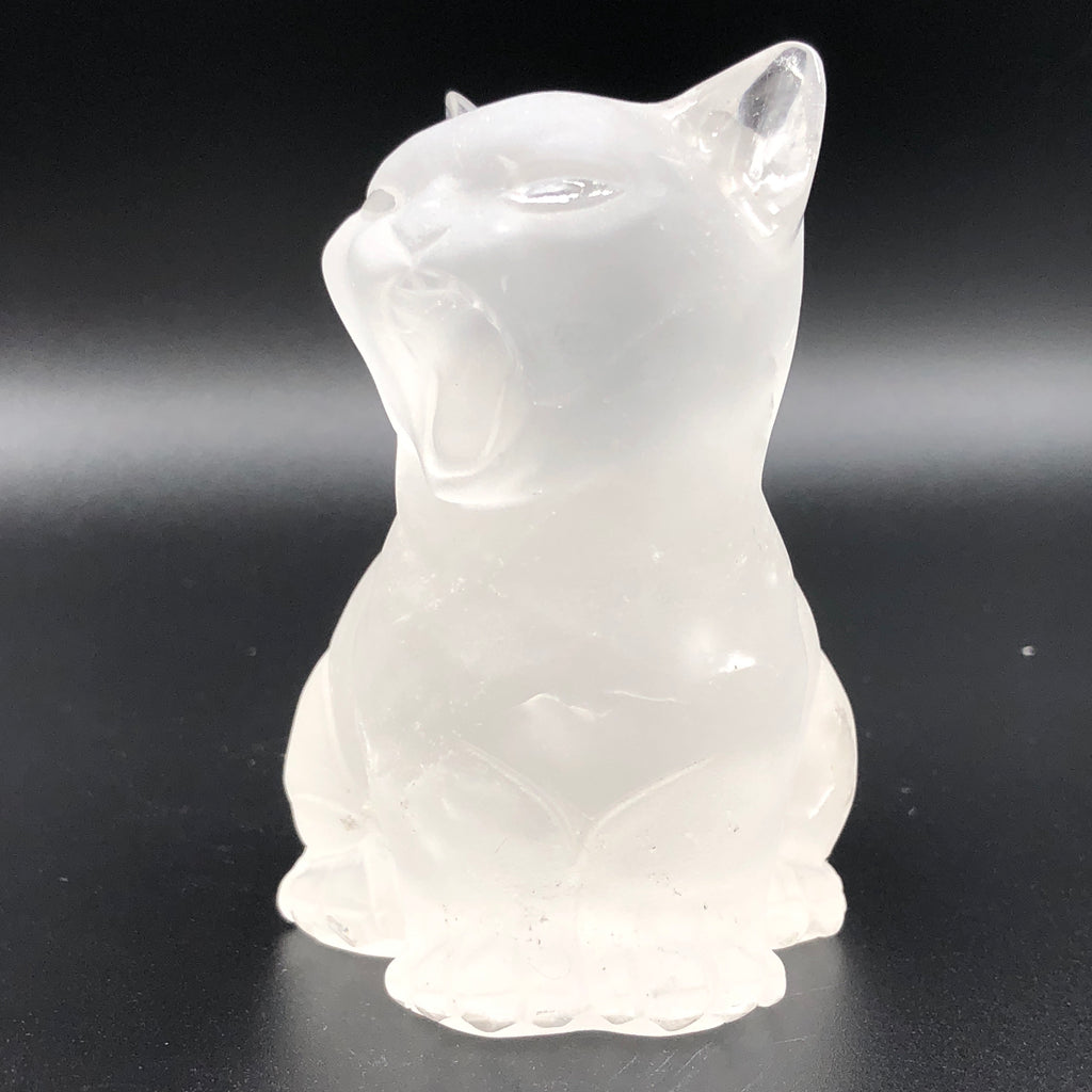Clear Quartz Frosted Cat Crystaluxe