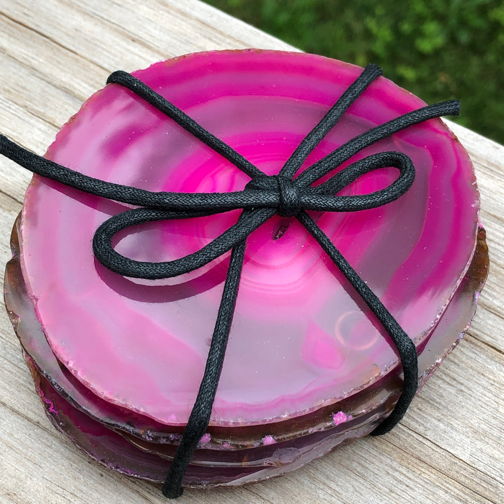 Pink Agate (Dyed) Coasters