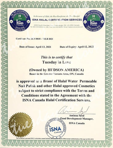 ISNA halal certficiation for Tuesday in Love