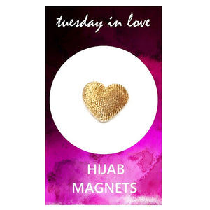Gold Heart Hijab Magnets