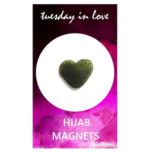 Olive Green Heart Hijab Magnets