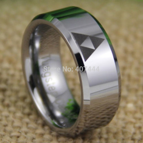 Legend Of Zelda Triforce Themed Ring 8mm (Shiny Silver)