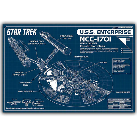 Star Trek USS Enterprise Spaceship Blueprints Silk Poster