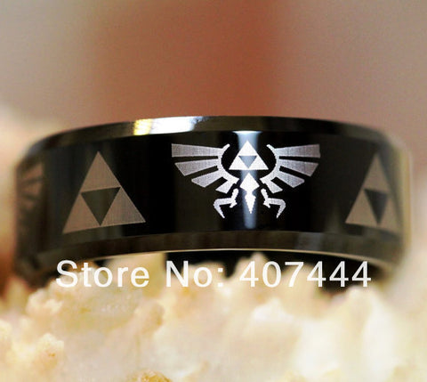 Legend of Zelda Themed 8mm Ring (Shiny Black)