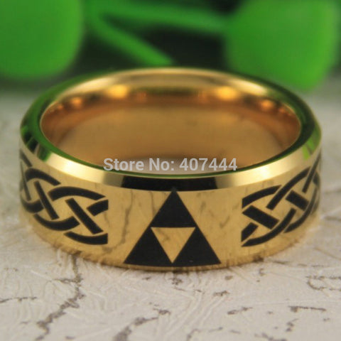 Legend of Zelda Themed 8mm Ring (Golden Beveled)