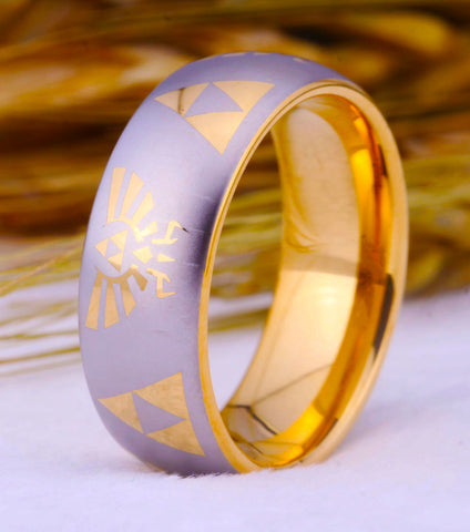 Legend of Zelda Theme Ring 8MM Golden Dome