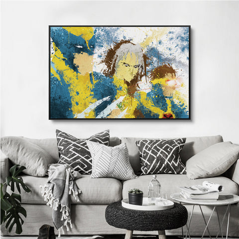 Modern Minimal Splash Marvel Comics Movie X-Men Wolverine Canvas Mural