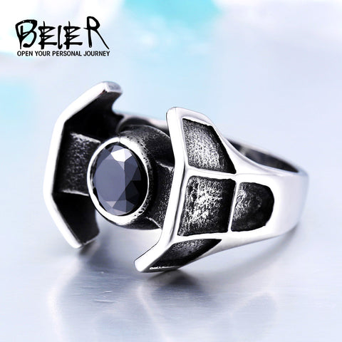 Custom Star Wars Tie Fighter Stainless Steel Unique Mans Ring