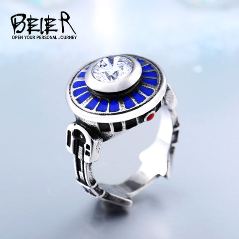 Custom Unique Star Wars R2D2 Stainless Titanium Steel Ring