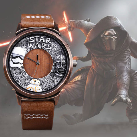 Unique Design Star Wars Watch Leather Strap BB8 Darth Vader and Storm Trooper