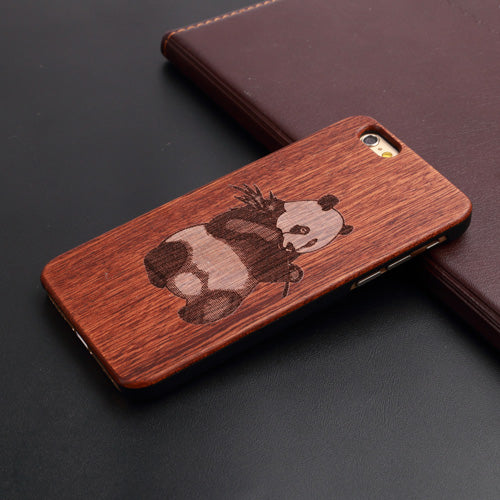 Natural Wood Phone Case - Panda Design