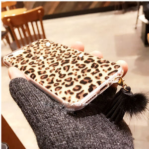 Leopard Print Phone Case with Tassel Back