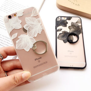 Lace Flower Pattern Phone Case with Ring Grip