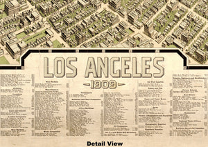 1909 Los Angeles Map Vintage Poster
