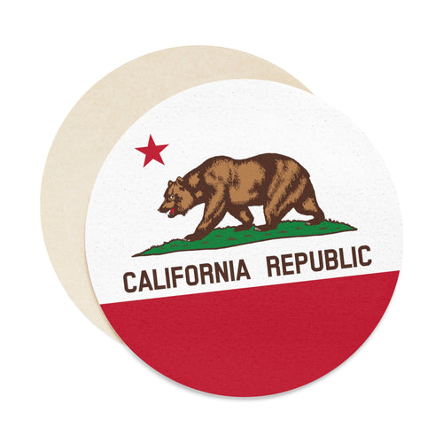 California Flag Round Paper Coaster Set - 6pcs