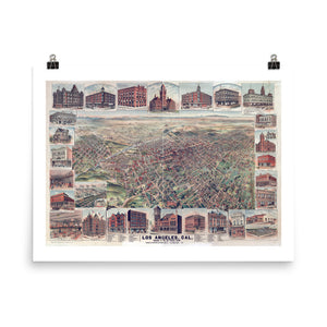 1891 Los Angeles Vintage Map Poster