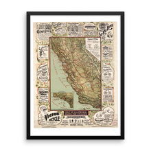 1895 Map of California Roads for Cyclers Poster