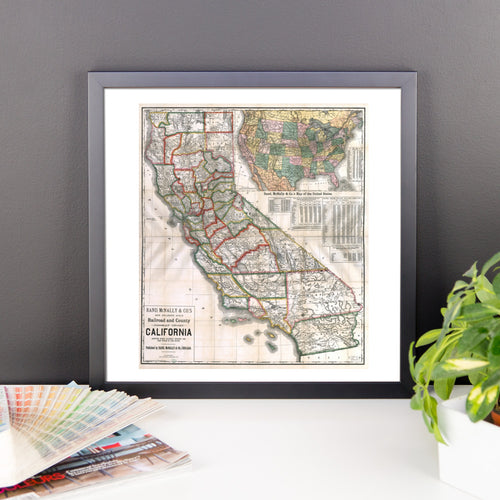 1883 California showing Railroad Stations & Post Offices Framed Poster