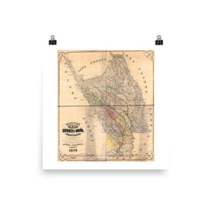 1876 County of Napa Vintage Map Poster