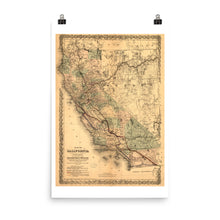 1876 California Map - Rights of the Southern Pacific R.R. Vintage Poster