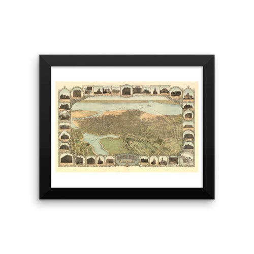 1900 View of Oakland Framed Vintage Poster
