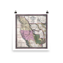 1846 California, Oregon and Texas Vintage Map Poster