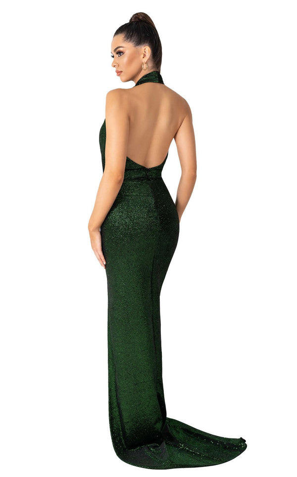 Evaje 10049 Dress Emerald-Black