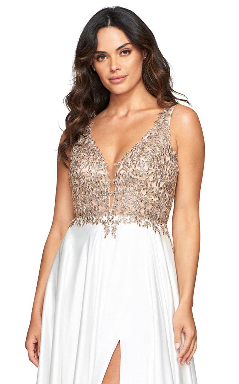 Faviana 10407 Dress Ivory-Gold