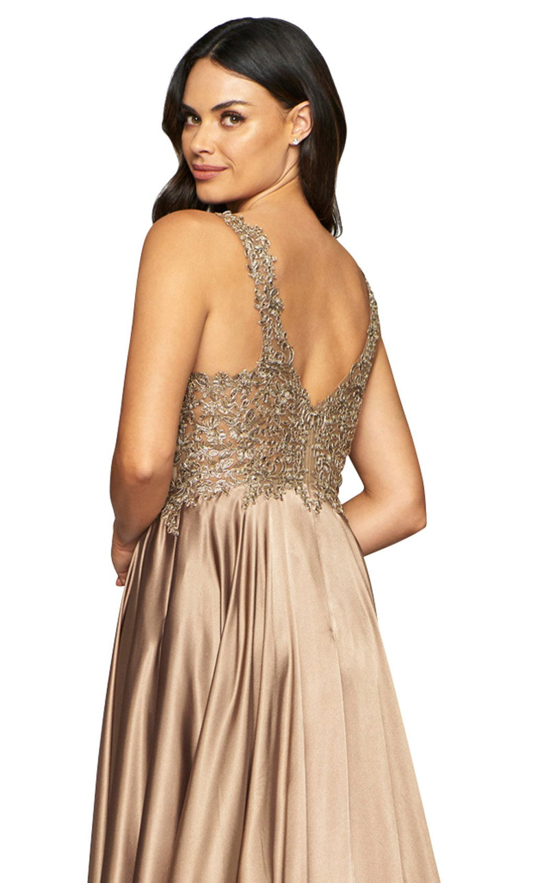 Faviana 10407 Dress Mocha-Gold