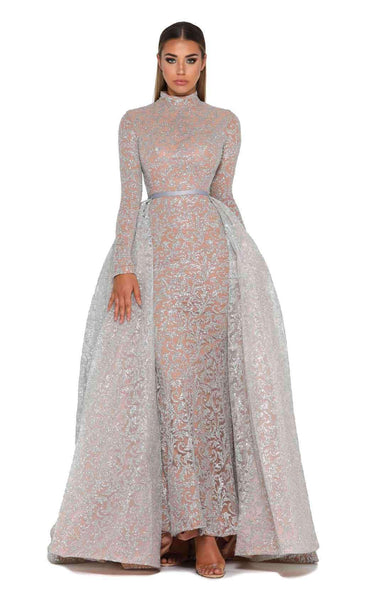 cc8e347802dd Portia and Scarlett 1702 Long Sleeves Silver Dress | Buy Designer Gowns &  Evening Dresses