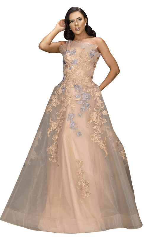 Terani 2011E2047 Dress Champagne-Taupe