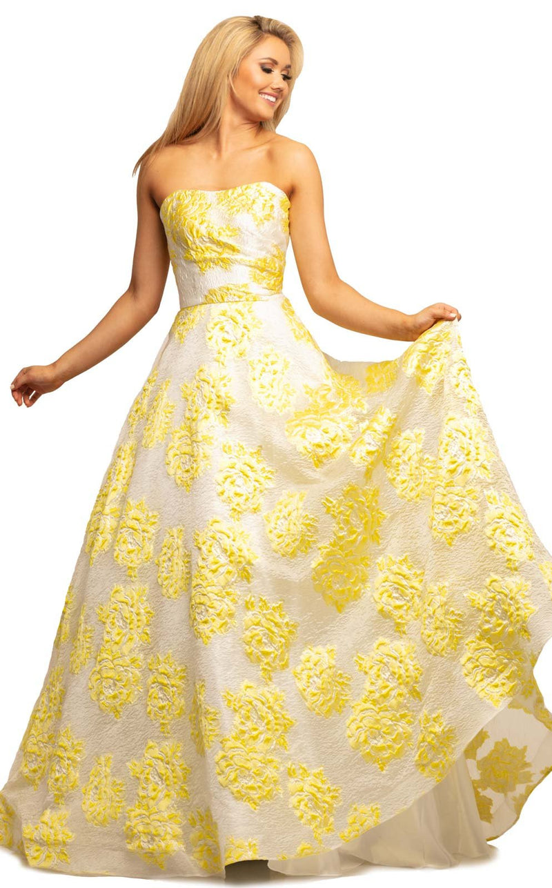 Johnathan Kayne 2078 Dress White-Yellow