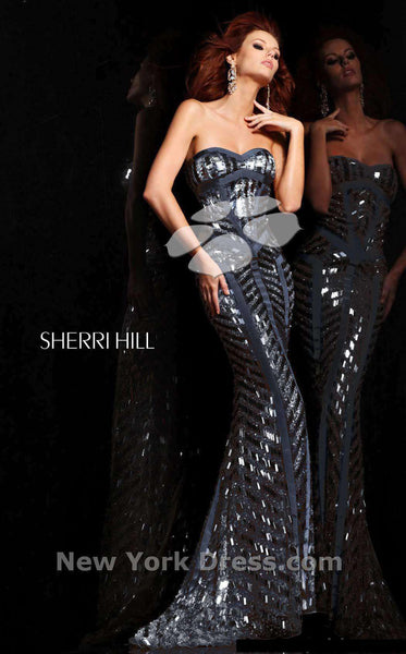Sherri Hill 2813 Navy/Gun Metal