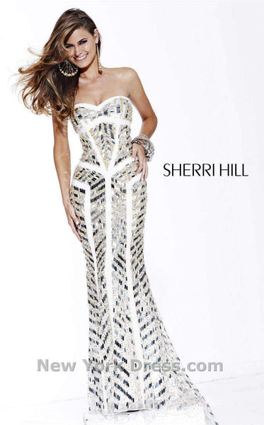 Sherri Hill 2813 Ivory/Gold/Silver