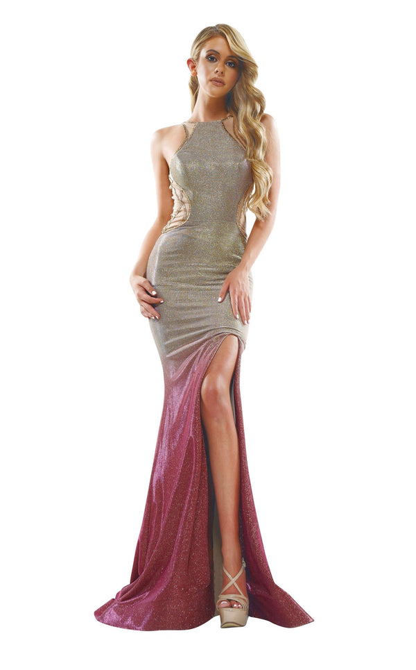 Colors Dress 2350 Dress Gold-Fuschia