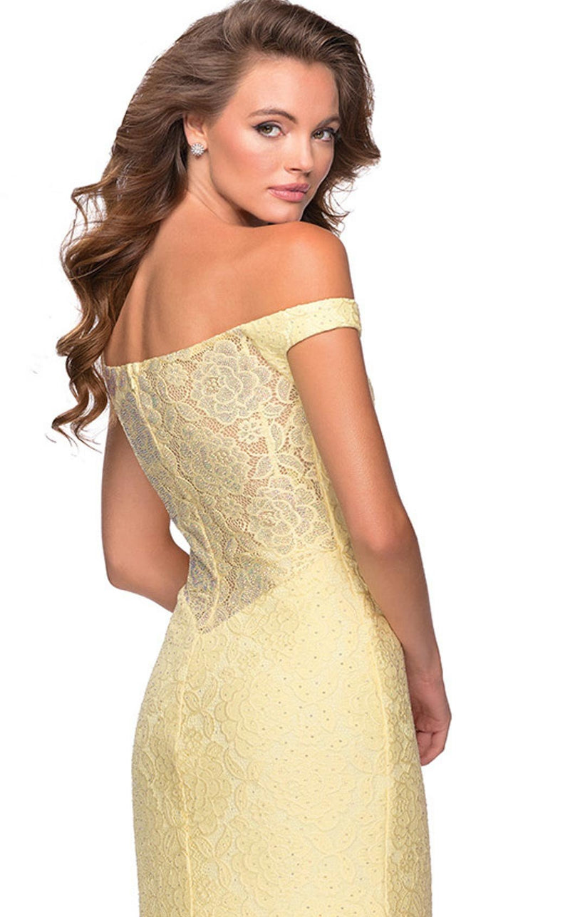 La Femme 28301 Dress Pale-Yellow