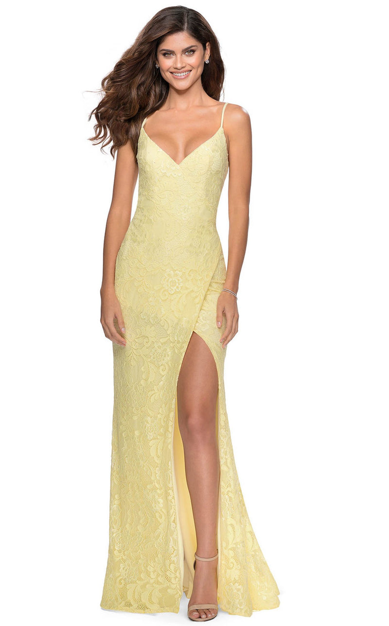 La Femme 28548 Dress Pale-Yellow