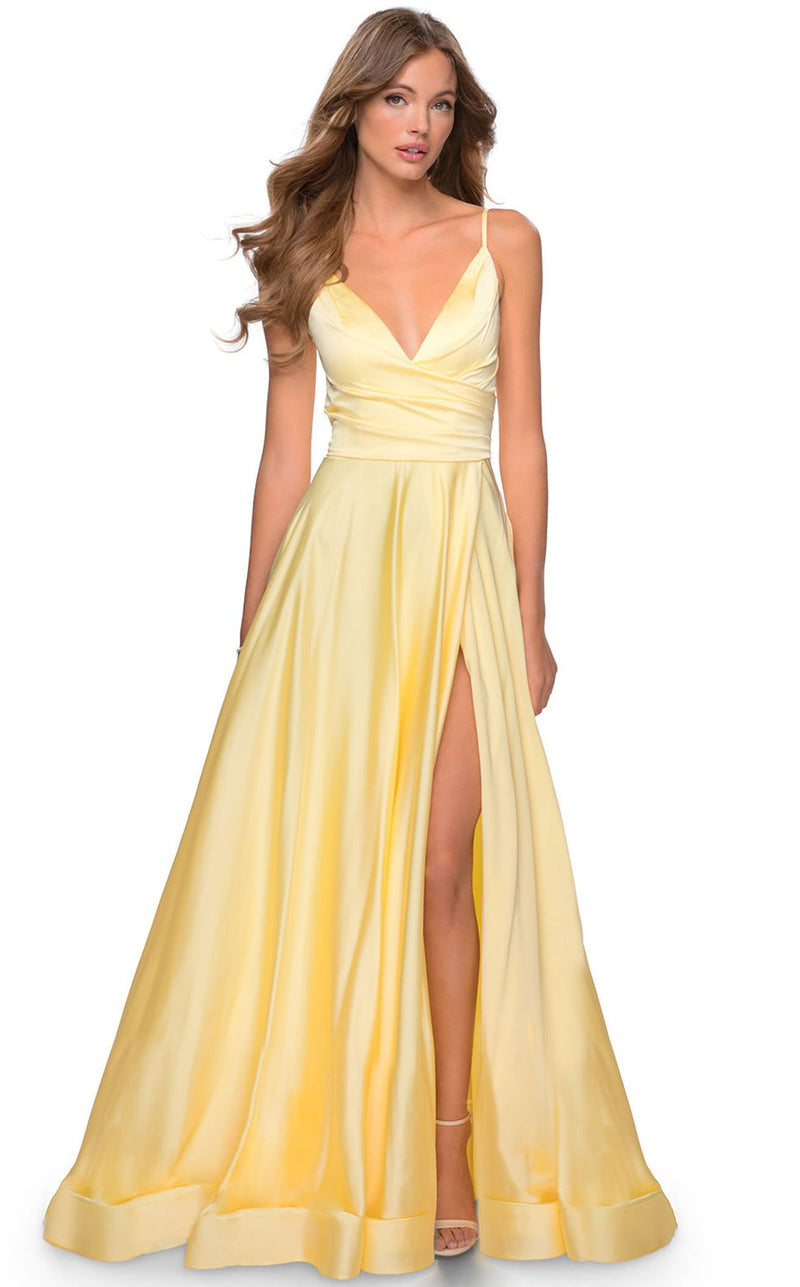 La Femme 28607 Dress Pale-Yellow