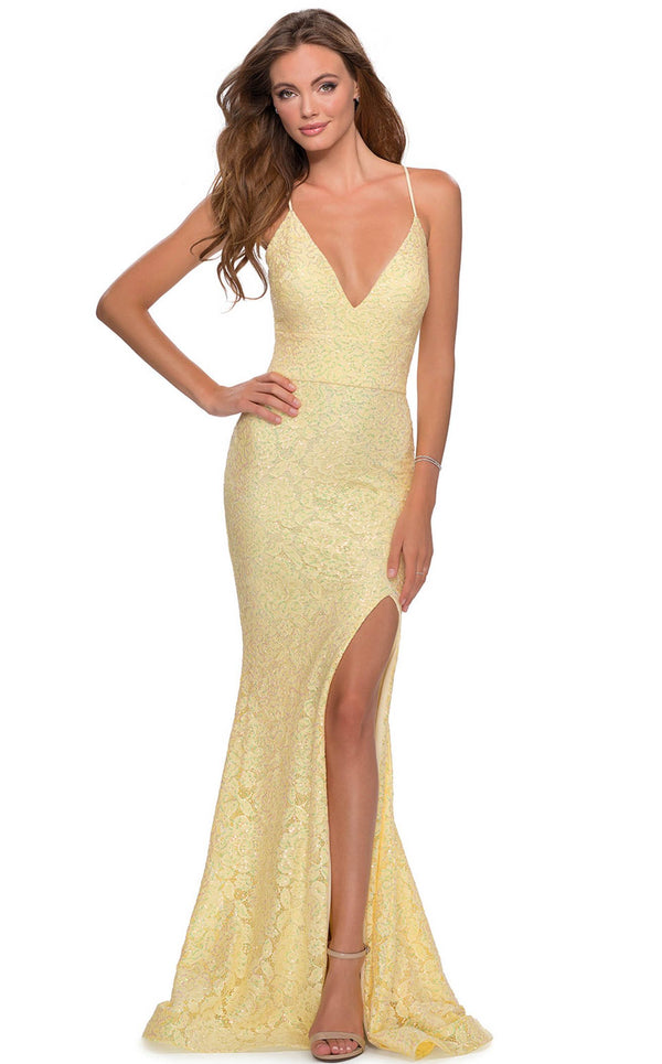 La Femme 28640 Dress Pale-Yellow