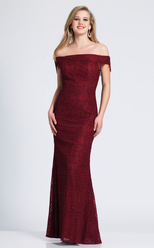 Dave and Johnny 3872 Dress Burgundy