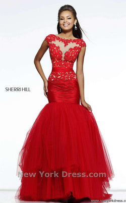 Sherri Hill 21261 Red/Nude