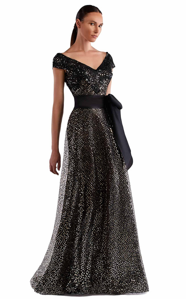 Edward Arsouni Couture SS0500 Dress Black-Gold