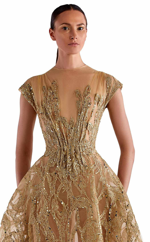 Edward Arsouni Couture SS0503 Dress Gold