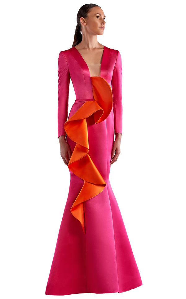Edward Arsouni Couture SS0518 Dress Fuchsia-Orange