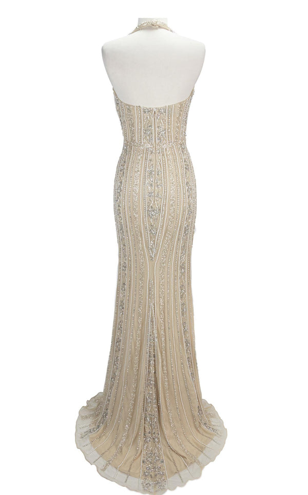 Paul Rekhi 5265 Dress Nude-Silver