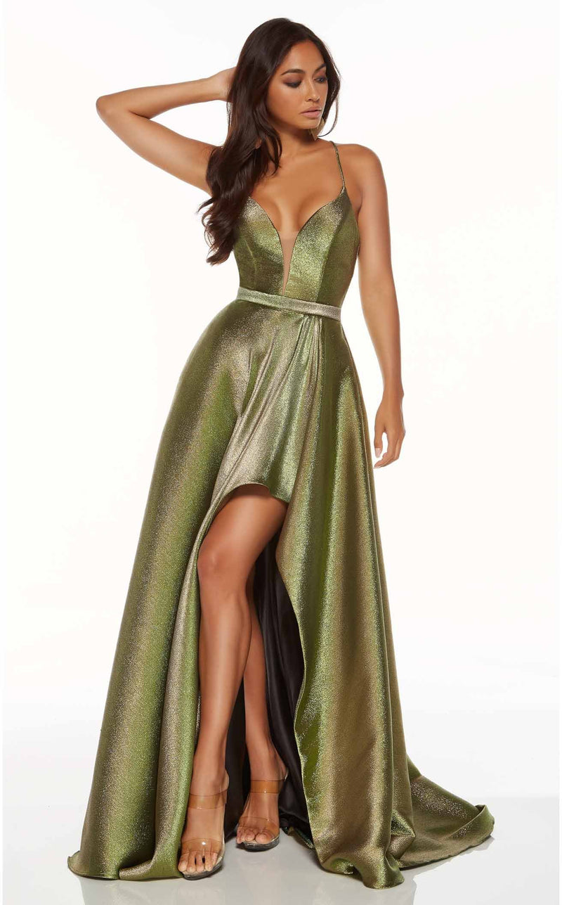 Alyce 60712 Dress Metallic-Chartreuse